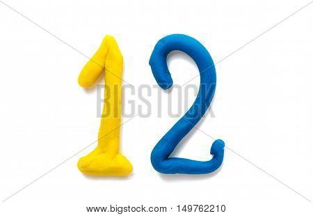 plasticine figures symbol 12 isolated on white background