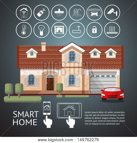 Smart home infographic with facade house and icons technology system. Flat design style vector illustration concept of smart house  with centralized control..