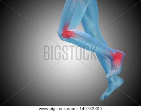 Conceptual 3D illustration human man anatomy or health design, joint or articular pain, ache or injury on gray background
