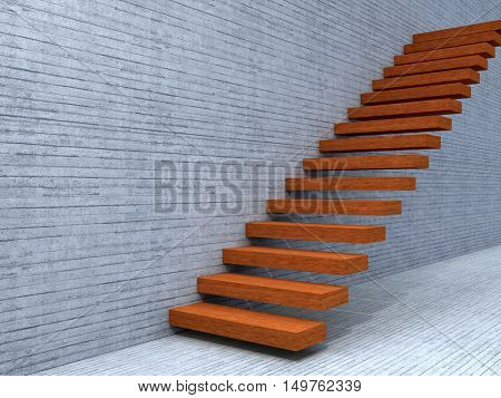 Concept or conceptual 3D illustration stair steps near a wall with floor background of wood metaphor to architecture, success, climb, business, staircase, stairway, rise, achievement, growth or future
