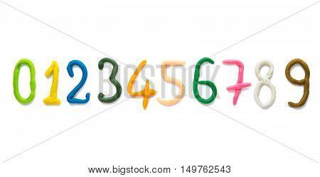 plasticine figure number symbols isolated on white background