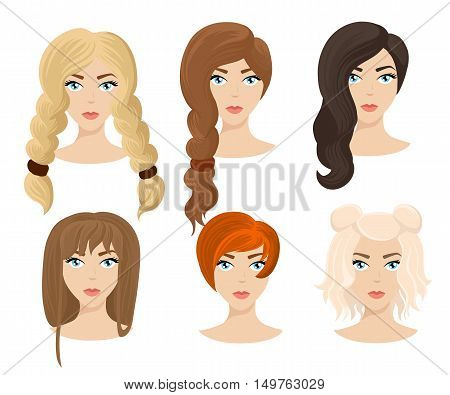 Different Colors Shades And Types Of Hair. Set Of Different Girl's Hairstyle For Curly Wavy Short Me