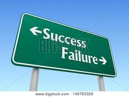 success failure signpost 3d illustration on sky  background