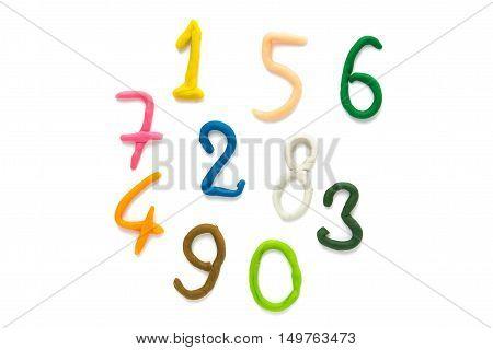 plasticine figures number symbols isolated on white background