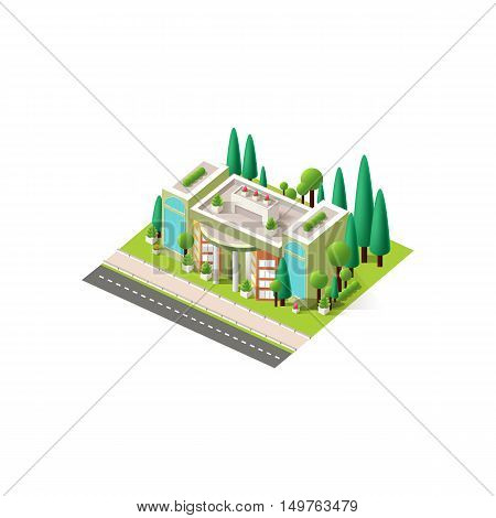 Stock vector illustration isometrics isolated multistory shopping center, cinema mall building with arranged territory for business center on a white background
