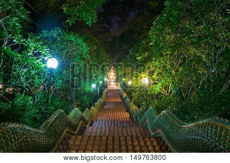 Dragon Stairs To Wat Phra That Doi Suthap Temple, Chiang Mai,thailand