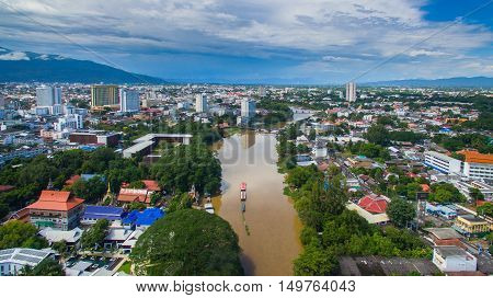 Aerial view Ping river in Chiang Mai City High angle view Planning Thailand.