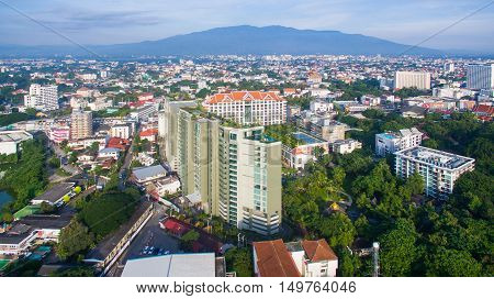 Aerial view Chiang Mai City High angle view Planning Thailand.
