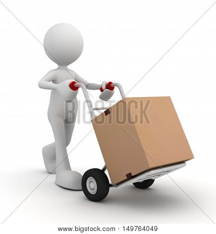 delivery man and hand truck 3d illustration isolated on white background