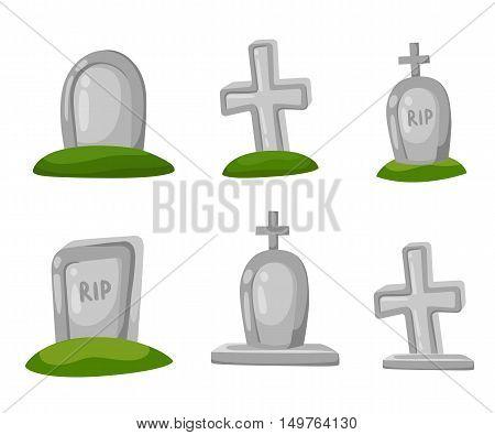 Set Of Cartoon Grave. Vector Illustration. Hallowen