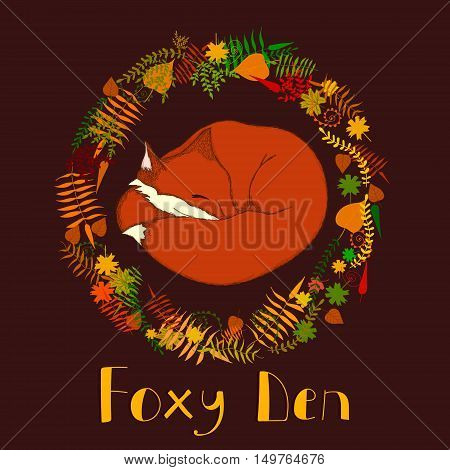 Vector cartoon illustration for special craft and art space called Foxy Den. Can be used for animal and natural themes, children goods and books as well.