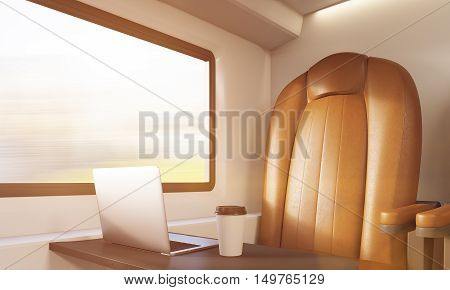 Brown leather armchair small table with laptop and coffee in train compartment. Concept of business on road and workaholism. 3d rendering toned image