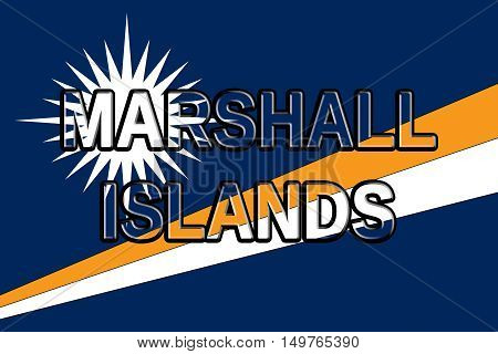 Illustration of the flag of The Marshall Islands with the country written on the flag