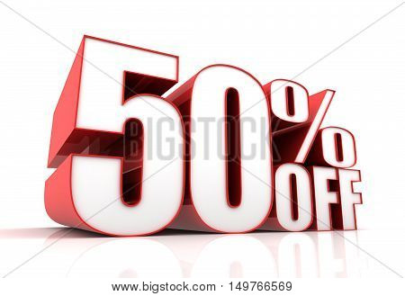fifty percent off sale 3d illustration isolated on white background