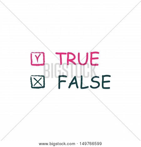 True False Icon Vector. Flat simple color pictogram