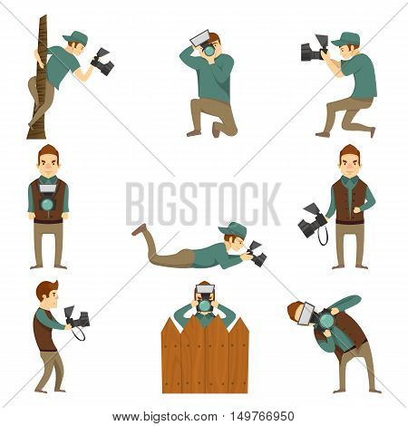 Flat isolated cartoon icons set of creative photographer male character taking photos in different positions blank background vector illustration