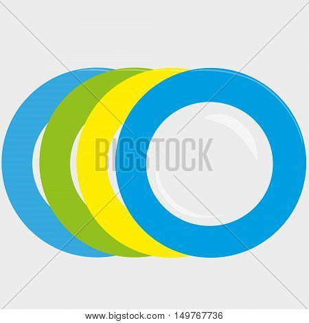colourfull plates blue yellow green isolated vector illustration