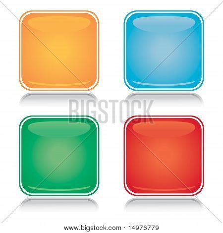 Set of colorful square blank icons