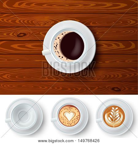 Top view composition of white cup of coffee on wooden table background and three extra similar isolated coffee cups with latte art vector illustration