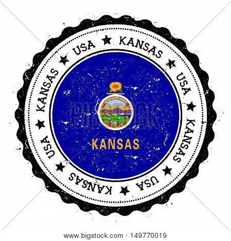 Kansas Flag Badge. Grunge Rubber Stamp With Kansas Flag. Vintage Travel Stamp With Circular Text, St