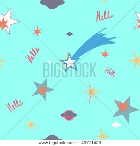 Seamless pattern with stars. Science background. Asteroid and comet image.