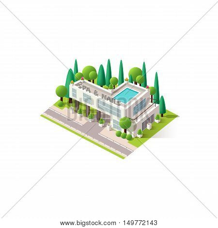 Stock vector illustration isometrics isolated Center Spa and Nail Care building with arranged territory for business center on a white background