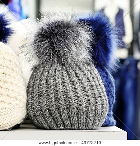 Wool hat in the shop. Head wear
