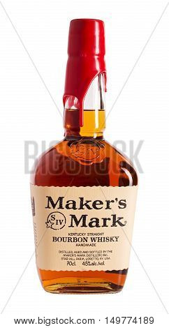 ORYOL, RUSSIA - SEPTEMBER 24, 2016: A bottle of Maker's Mark Whiskey. Small-batch bourbon whiskey that is distilled in Kentucky. It is sold in squarish bottles, which are sealed with red wax.