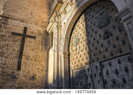 CUENCA SPAIN - August 24 2016: The Episcopal Palace of Cuenca is located next to the Cathedral was in the fifteenth century court of the Inquisition until the year 1530 take in Cuenca Spain