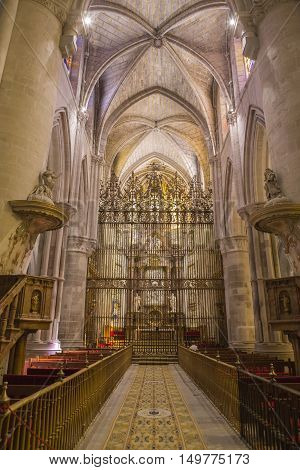 CUENCA SPAIN - August 24 2016: Interior of the cathedral of Cuenca Grill of the Choir Renaissance grill that closes the choir is of the middle of the XVIth century locksmith of Cuenca Hernando de Arenas acts of the maker. Cuenca Patrimony of the humanity