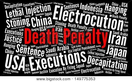 Death penalty word cloud concept with a black background