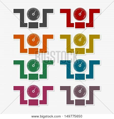 Vector flat manometer icons set on gray background