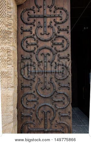 The basilica du Sacre Coeur in Paray-le-Monial France. Side door
