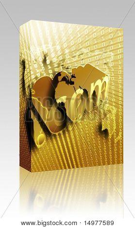 Software package box dotCom background, on world map internet illustration