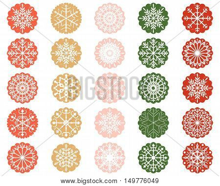 White Snowflake Ornaments in Scalloped Color Circles