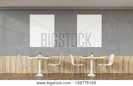 Family Cafe With Two Posters And Concrete Walls