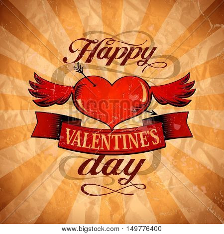 Happy Valentine`s day design in retro style with winged heart, rasterized version