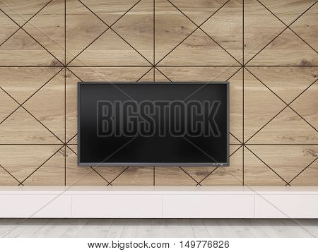 Close up of TV set on wooden wall hanging above bench in office. Concept of waiting room interior in luxury establishment. 3d rendering. Mock up