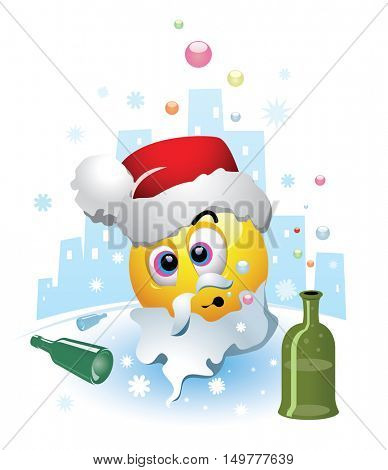 Drunk smiley dressed as a Santa Clause. Smiley after party where he drunk too much. Humoristic vector illustration.
