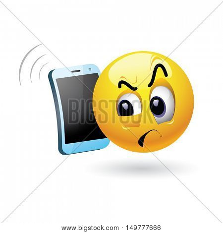 Smiley talking on a phone. Vector illustration of a smiley being distrustful while having phone conversation.