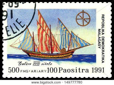 STAVROPOL RUSSIA - September 01 2016: a stamp printed in Malagasy Republic shows galley 18 century circa 1991.