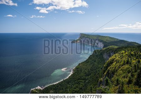Forillon National Park as seen from the viewpoint atop Mt-St-Alban Gaspe Peninsula Quebec Canada