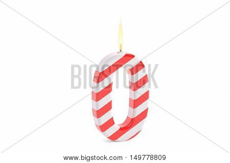 Birthday candle with number 0 3D rendering isolated on white background