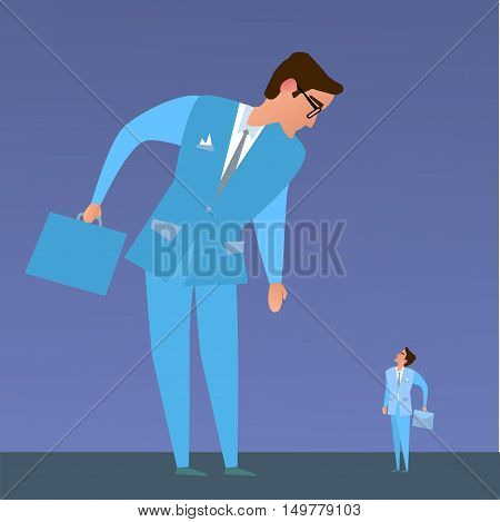 The business competition.Big business and small business.Vector illustration of a flat design.