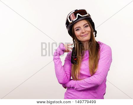 Woman With Sporty Helmet.
