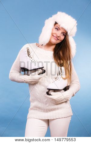 Girl Is Wearing White Gloves And Fur Cap.