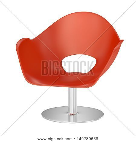 Red plastic chair with metal support. 3D rendering.