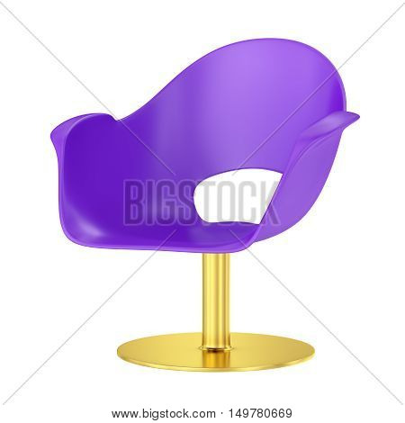 Violet plastic chair with metal support. 3D rendering.