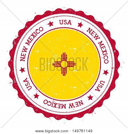 New Mexico Flag Badge. Grunge Rubber Stamp With New Mexico Flag. Vintage Travel Stamp With Circular