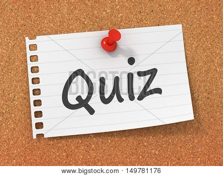 quiz 3d illustration isolated on white background